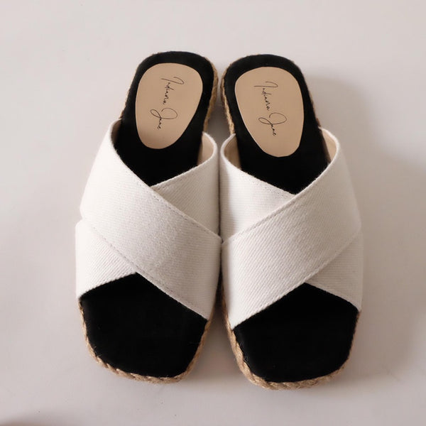 PEONY White Canvas Cross Strap Slip-On