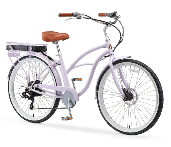 AO Women's Bicycle Co. Amelia 7-Speed 500W Beach Cruiser Electric Bike