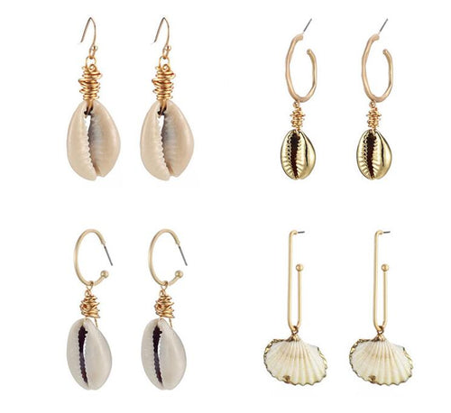 Handmade Natural Shell Drop Earrings - agitra