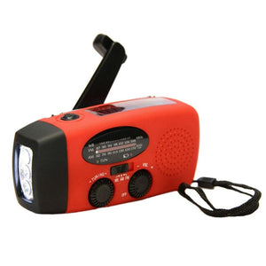 Emergency Portable Solar & Hand Powered Flashlight Radio - agitra