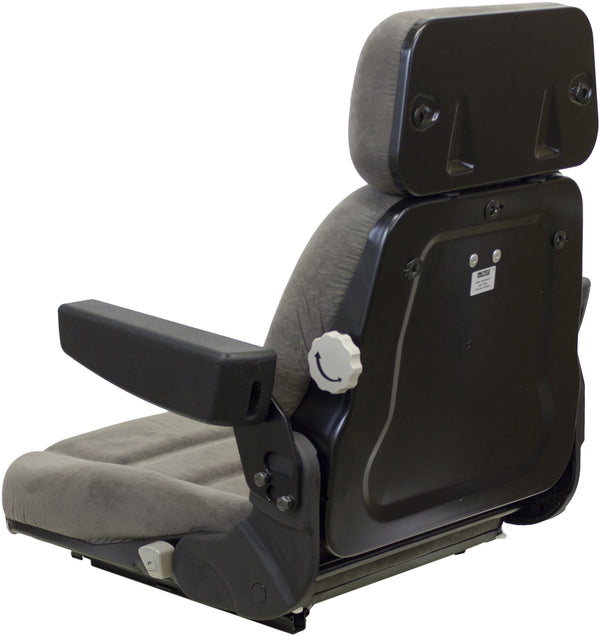 Versatile Tractor Seat Assembly - Fits Various Models - Gray Cloth