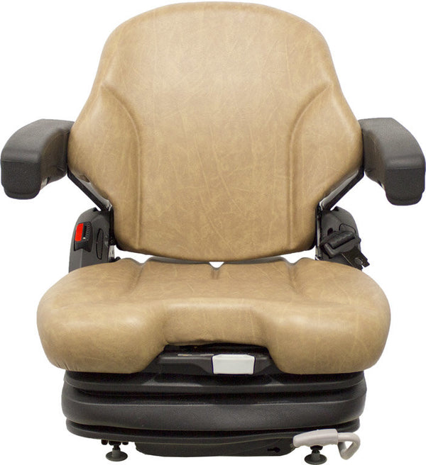 Case Dozer Seat w/Armrests & Air Suspension - Fits Various Models - Brown Vinyl