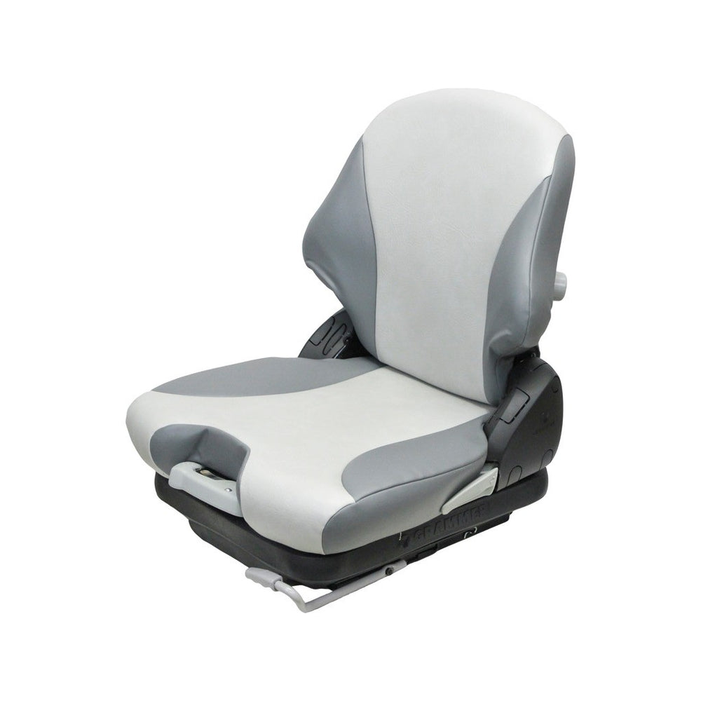 Crown Forklift Seat & Mechanical Suspension - Fits Various Models - Two-Tone Gray Vinyl