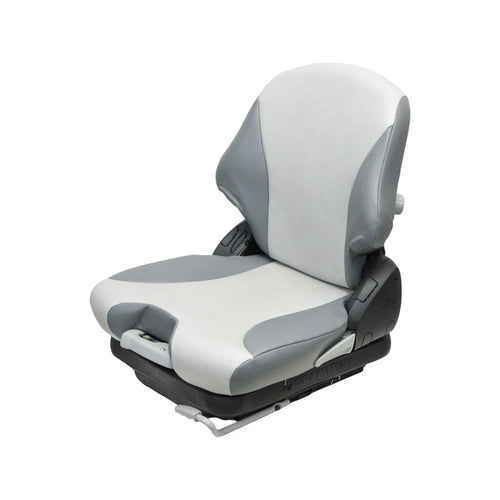 CROWN FORKLIFT SEAT ASSEMBLY - FITS VARIOUS MODELS - TWO-TONE GRAY - MECHANICAL SUSPENSION
