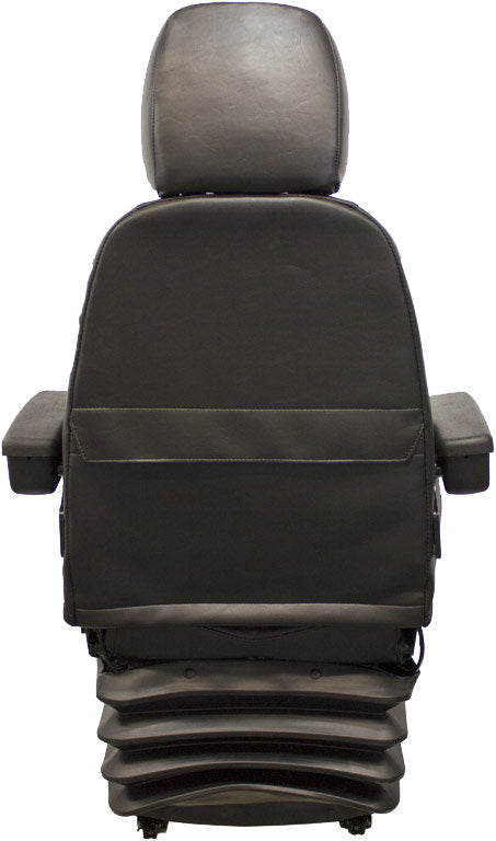 John Deere Motor Grader Seat & Mechanical Suspension - Fits Various Models - Black Vinyl