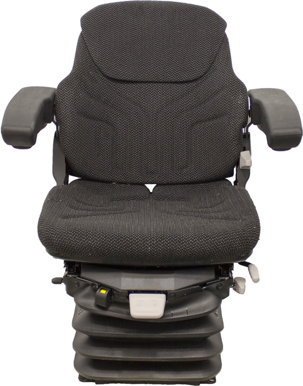 Ford/New Holland Tractor Seat & Air Suspension - Fits Various Models - Black/Gray Cloth