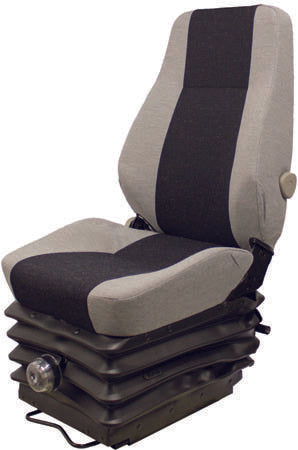 DOOSAN WHEEL LOADER SEAT ASSEMBLY - FITS VARIOUS MODELS - GRAY CLOTH - MECHANICAL SUSPENSION