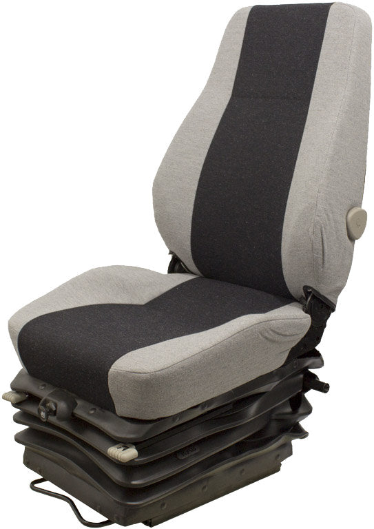 DOOSAN WHEEL LOADER SEAT ASSEMBLY - FITS VARIOUS MODELS - GRAY CLOTH - AIR SUSPENSION