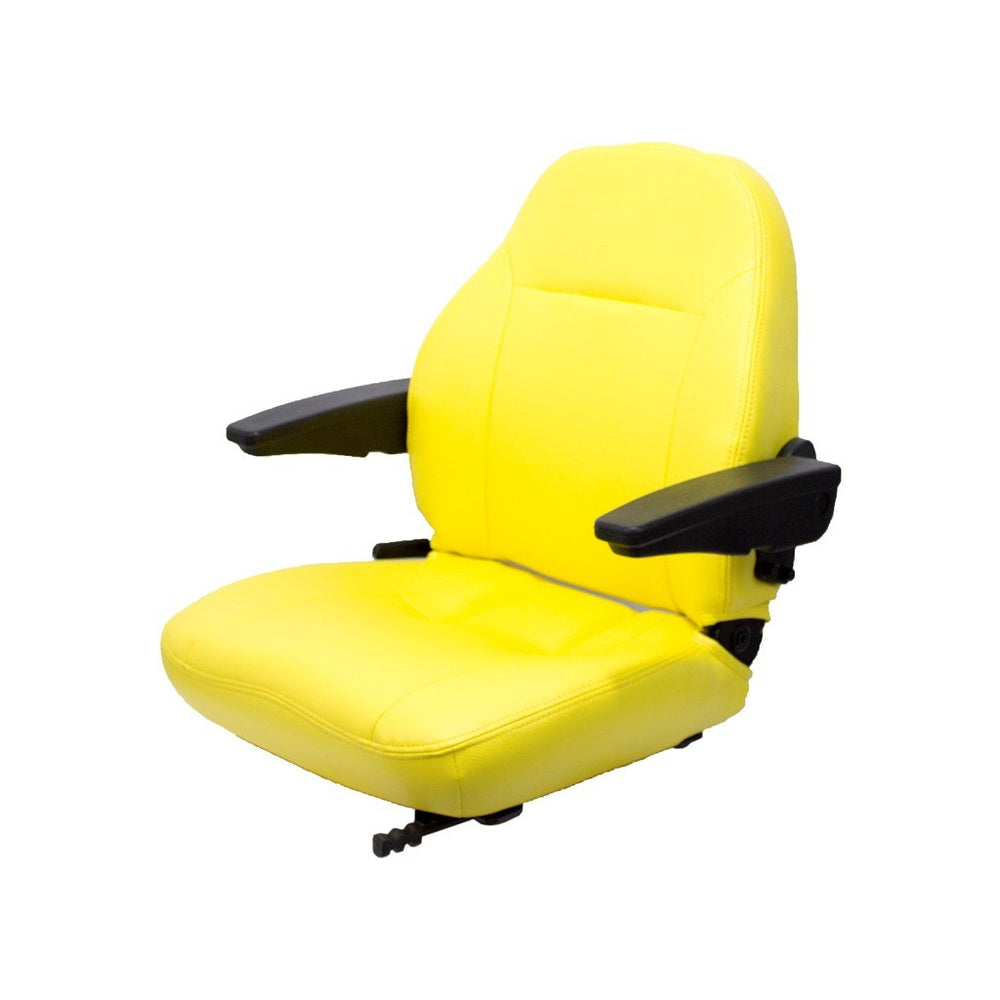 HUSTLER LAWN MOWER SEAT ASSEMBLY - FITS VARIOUS MODELS - YELLOW VINYL W/ARMS