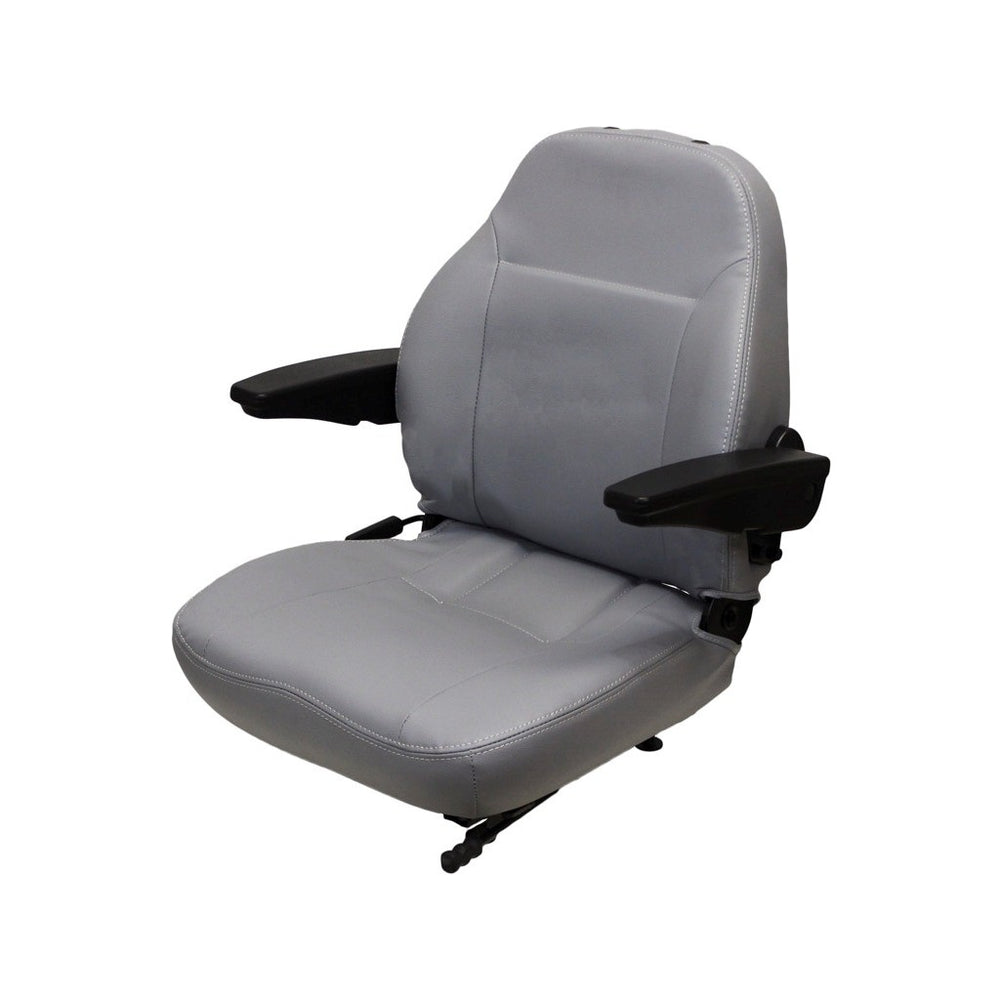 WHITE TRACTOR SEAT ASSEMBLY - FITS VARIOUS MODELS - GRAY VINYL WITH ARMS