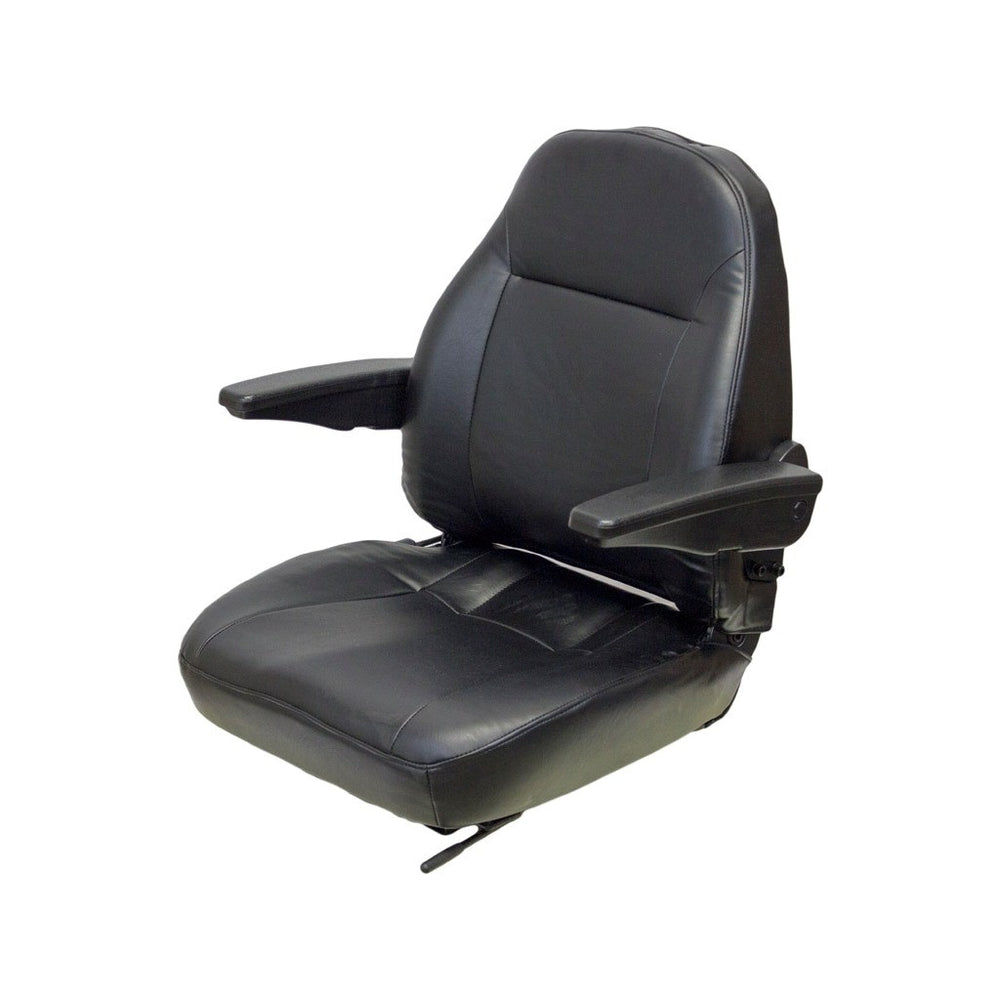LULL TELEHANDLER SEAT ASSEMBLY - FITS VARIOUS MODELS - BLACK VINYL WITH ARMS