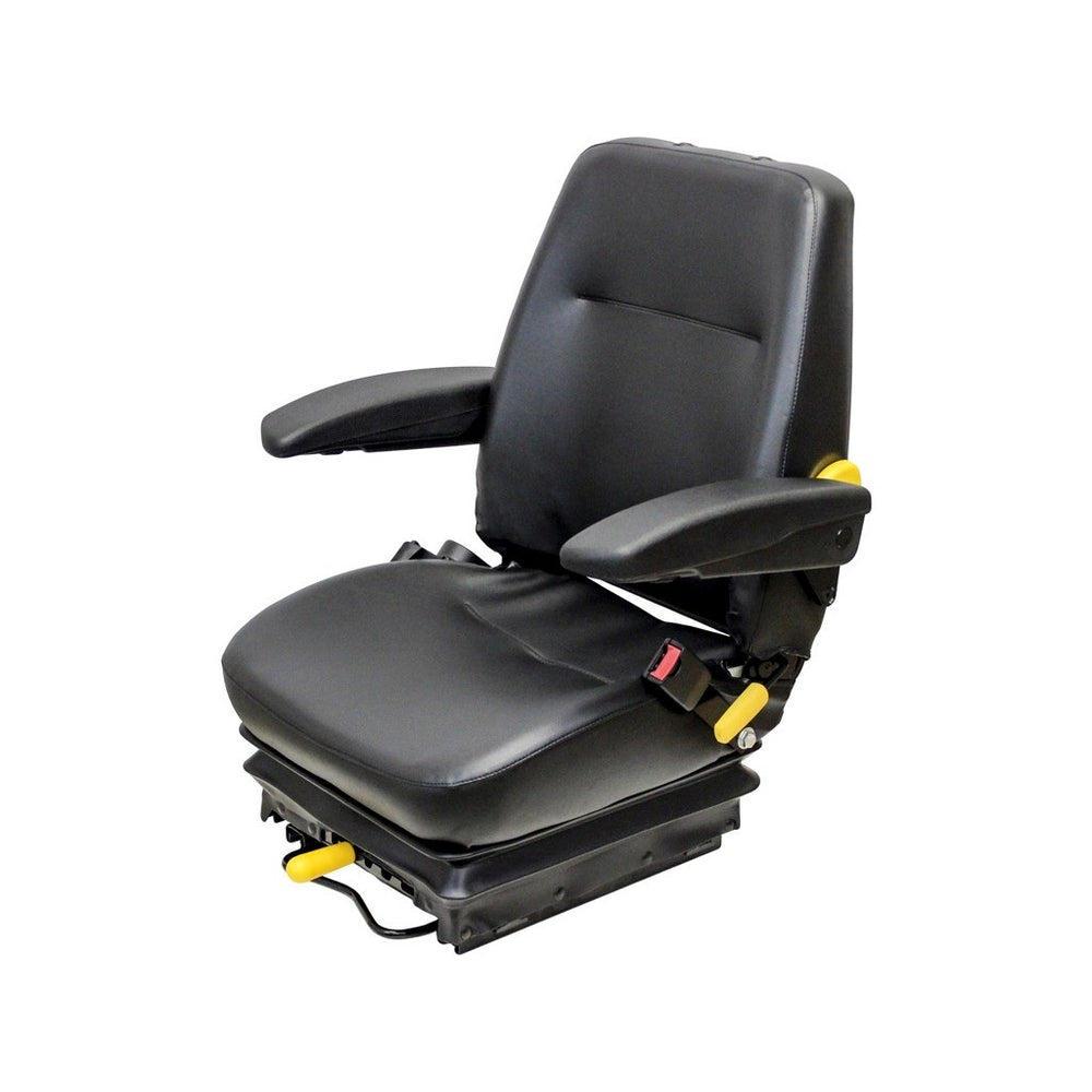 STEIGER TRACTOR SEAT ASSEMBLY - FITS VARIOUS MODELS - BLACK VINYL - MECHANICAL SUSPENSION