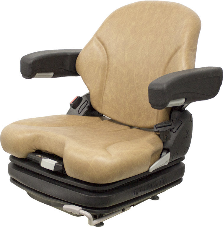 CROWN FORKLIFT SEAT ASSEMBLY - FITS VARIOUS MODELS - BROWN VINYL - AIR SUSPENSION