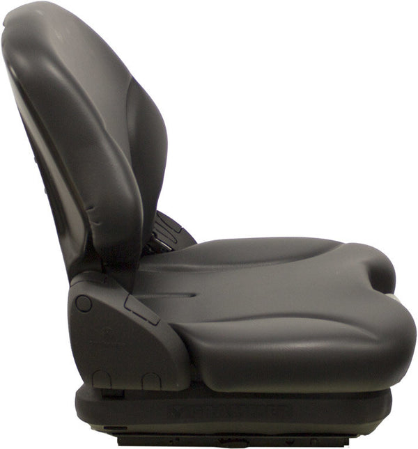 CROWN FORKLIFT SEAT ASSEMBLY - FITS VARIOUS MODELS - BLACK VINYL -  MECHANICAL SUSPENSION