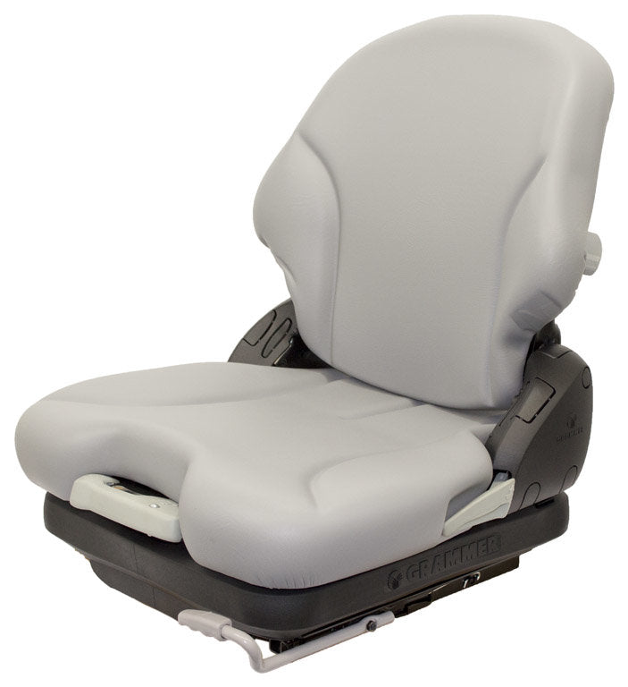 CROWN FORKLIFT SEAT ASSEMBLY - FITS VARIOUS MODELS - GRAY VINYL - MECHANICAL SUSPENSION