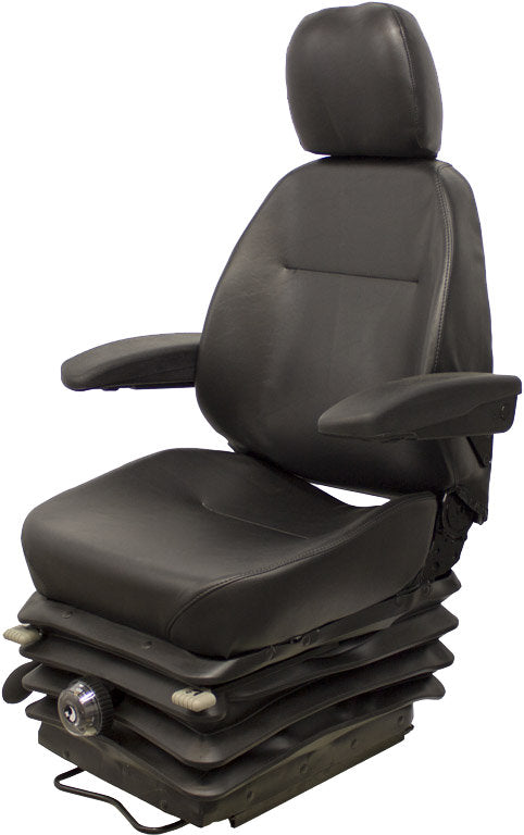 Terex Scraper Seat & Mechanical Suspension - Fits Various Models - Black Vinyl