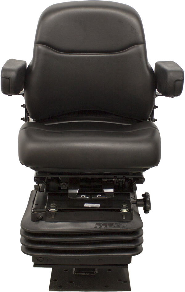 Case Loader/Backhoe Seat & Mechanical Suspension - Fits Various Models - Black Vinyl
