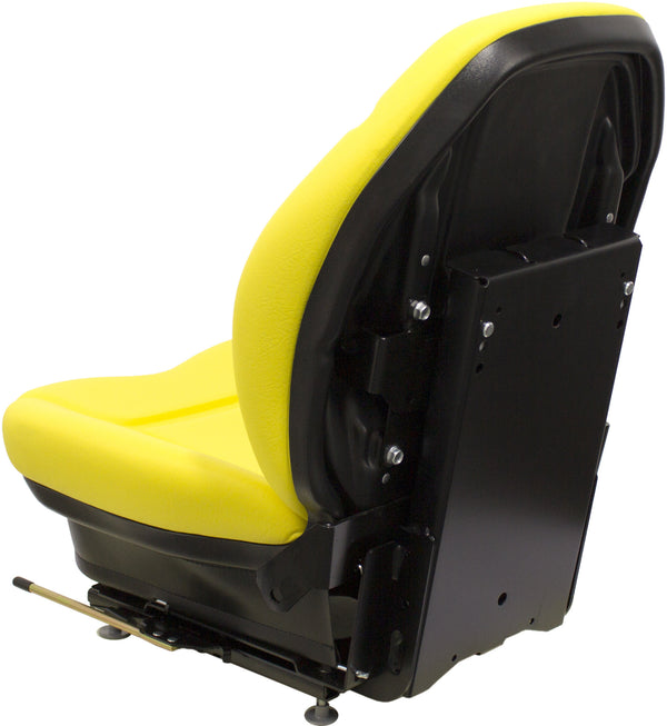 Caterpillar Skid Steer Seat & Mechanical Suspension - Fits Various Models - Yellow Vinyl