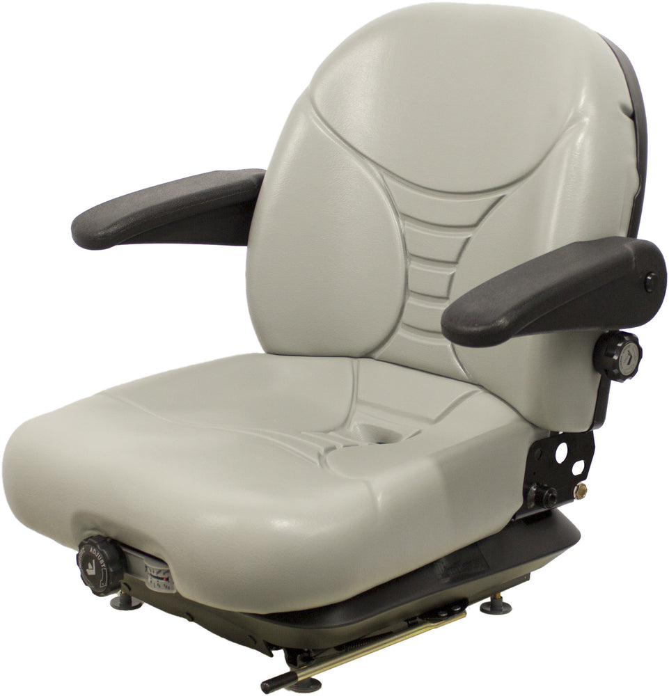 GEHL SKID STEER SEAT ASSEMBLY WITH ARMS - GRAY  VINYL - FITS VARIOUS MODELS - MECHANICAL SUSPENSION
