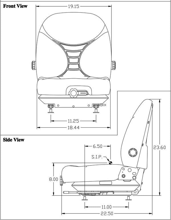 Case Skid Steer Seat & Mechanical Suspension w/Arms - Fits Various Models - Gray Vinyl