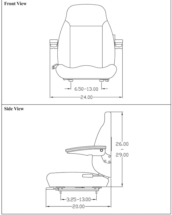 Case Wheel Loader Seat Assembly w/Arms - Fits Various Models - Gray Vinyl