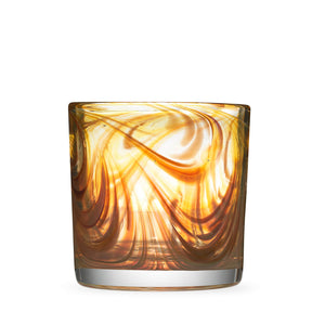 Oak Grain style Rocks Glass with amber and tan swirls.