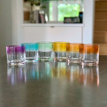 Load image into Gallery viewer, Set of 6 Rocks Glasses in a striped ROYGBV rainbow color pattern.
