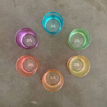 Load image into Gallery viewer, Set of 6 cocktail glasses in a ROYGBV rainbow color scheme. Each glass is one solid color. Aerial view of cups in circular color wheel.