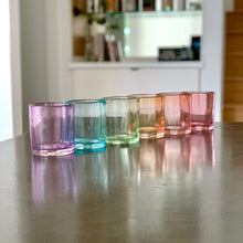 Load image into Gallery viewer, Set of 6 rocks glasses in a ROYGBV rainbow color line up. Each glass is one solid color.