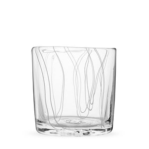 Simpatico in White rocks glass with vertical fine white lines.