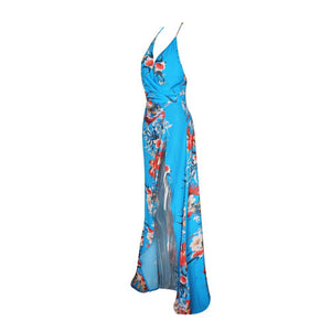 Blue Floral Printed Maxi - Nomad Bridal