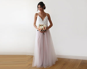 Ivory & light blue tulle wedding gown, two colors dress - Nomad Bridal