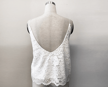 Load image into Gallery viewer, Floral Ivory open-back lace bridal tank top - Nomad Bridal