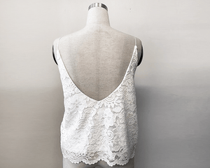 Floral Ivory open-back lace bridal tank top - Nomad Bridal