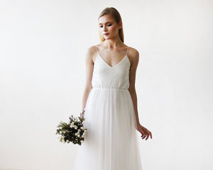 Ivory Sequin and Tulle Maxi Bridal Gown - Nomad Bridal