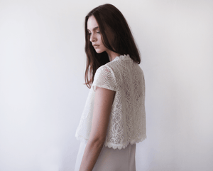Short sleeves bridal lace and sequins bolero - Nomad Bridal