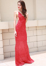 Load image into Gallery viewer, Red Sequin Evening Gown - Nomad Bridal