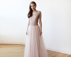Sleeveless Pink Sequins Tulle Maxi Dress with Open-Back - Nomad Bridal