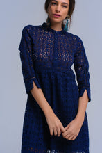 Load image into Gallery viewer, Navy midi dress with crochet