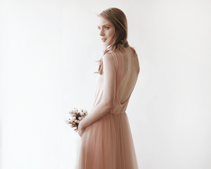 Blush Pink Backless Tulle Maxi Dress - Nomad Bridal