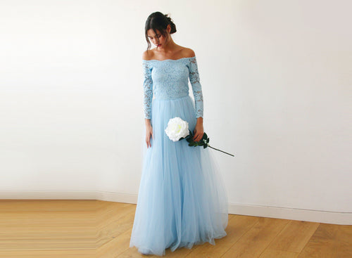 Light Blue  Off-The-Shoulder Lace and Tulle Maxi Dress - Nomad Bridal
