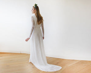 Ivory Wrap Floral Lace Long Sleeve Gown with a Train - Nomad Bridal