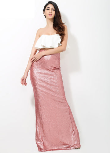 2 Part Pink Sequin Dress - Nomad Bridal