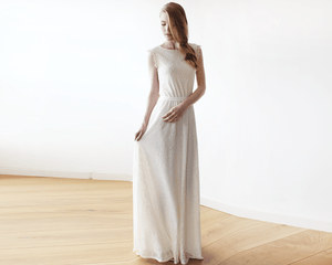 Sleeveless Ivory backless lace maxi wedding dress - Nomad Bridal