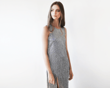 Load image into Gallery viewer, Glamorous Metallic pleated silver maxi dress - Nomad Bridal