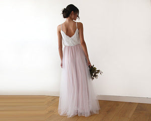 Ivory & pink tulle wedding gown, two colors dress - Nomad Bridal