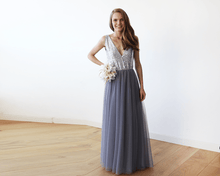Load image into Gallery viewer, Silver Sequins and Grey Tulle Maxi Gown SALE
