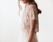 Load image into Gallery viewer, Lace Pink Short Sleeve Top