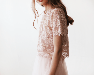 Lace Pink Short Sleeve Top