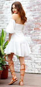 White Lantern Sleeve Dress - Nomad Bridal
